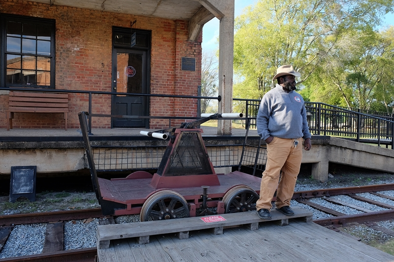 handcar demonstration at Georgia State Railroad Museum, Savannah