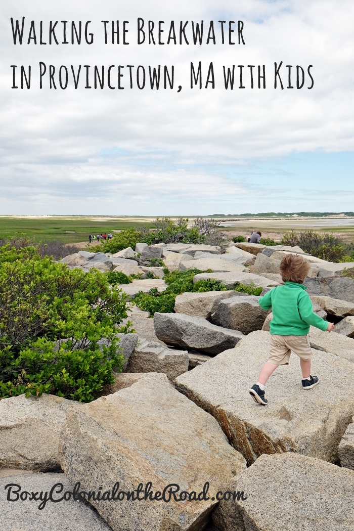 Hike the breakwater in Provincetown, MA on Cape Cod with kids: giant rocks, empty beaches, and lighthouses!