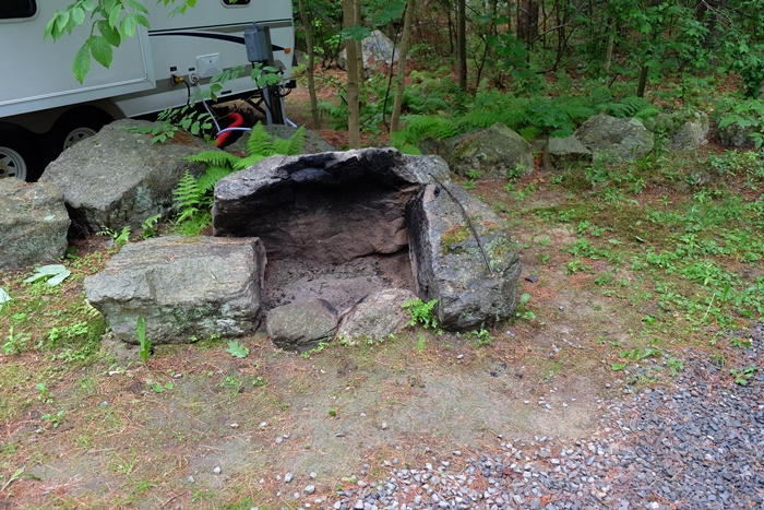 fire pit at Minuteman Campground, Littleton, MA