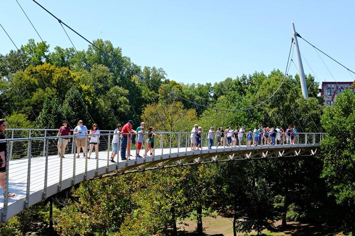 liberty bridge, falls park on the reedy, greenville, sc