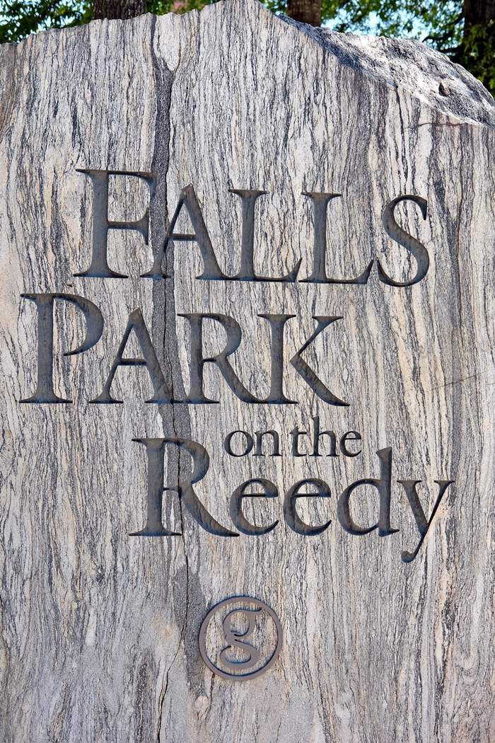 falls park on the reedy sign, greenville