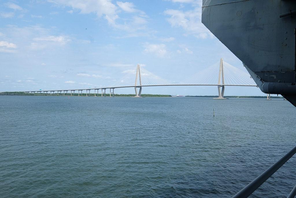 Ravenel Bridge from USS Yorktown in Charleston