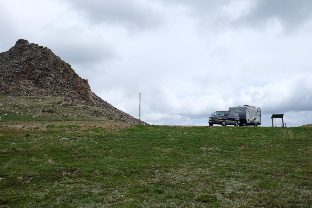 over the bighorns on our cross country RV trip