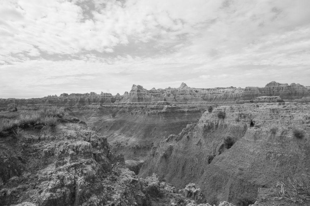 badlands national park in black and white