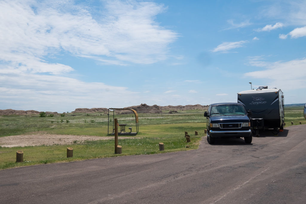 site 24 at Cedar Pass Campground in the Badlands
