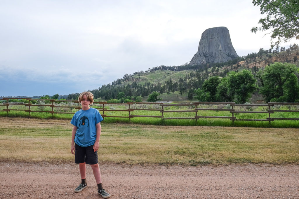 view of devils tower from our campsite