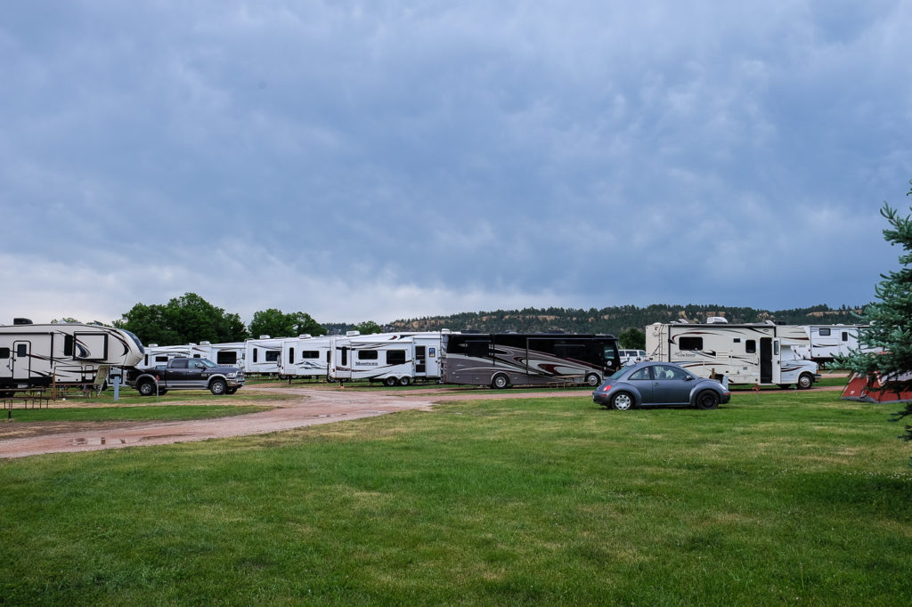 RV campsites at Devils Tower KOA campground in Wyoming
