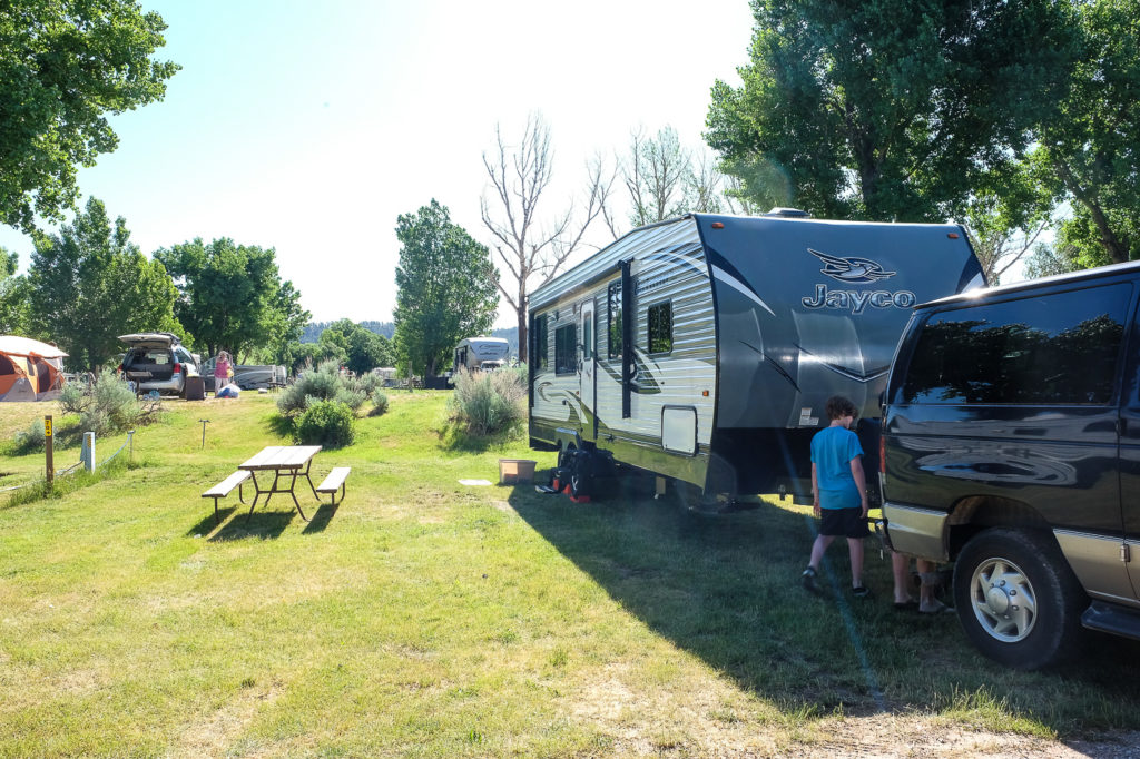 our campsite with a view of devils tower at the devils tower koa