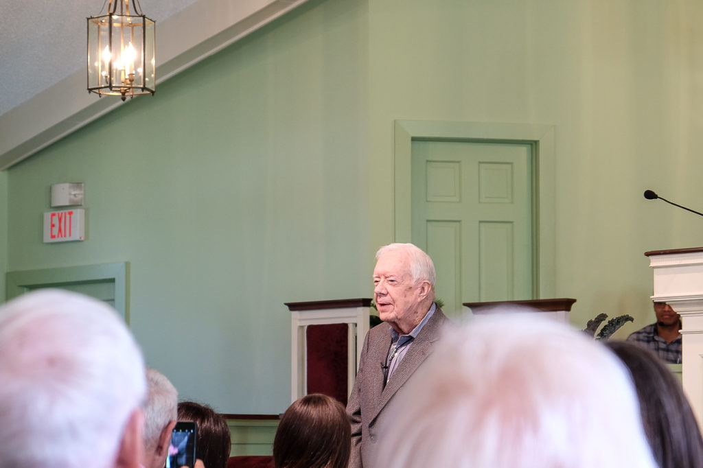 President Jimmy Carter teaches Sunday school in Plains, Georgia